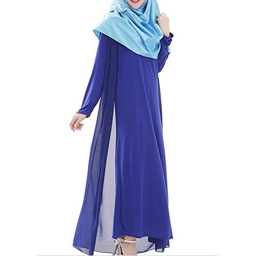 hibote túnicas árabes musulmanes las mujeres oriente medio vestido de la gasa de manga larga azul real XL