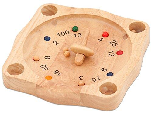 Tiroler Roulette, Holzspiel, mit 10 Kugeln, 22cm Durchmesser, aus Gummibaumholz - Spiel Holz Kinder Aktionsspiel Brettspiel Geschicklichkeitsspiel Kinderspiel Roulettevariante