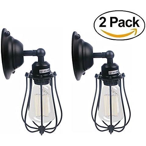 Retro jaula lámpara de pared, luces de pared victoriano, retro Loft Industrial ligero de la pared de la jaula de la lámpara del aplique de sombra (Tipo de tapa E27, 110-230V, 40W, bombillas no incluidas, paquete de