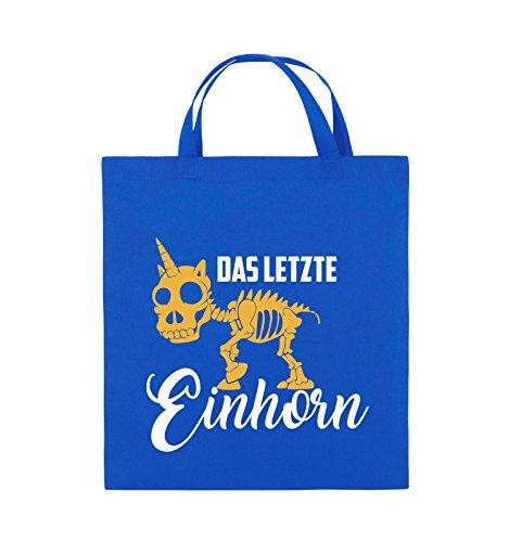 Comedy Bags - Das letzte Einhorn - SKELETTE - Jutebeutel - kurze Henkel - 38x42cm - Farbe: Schwarz / Weiss-Neongrün Royalblau / Weiss-Gelb