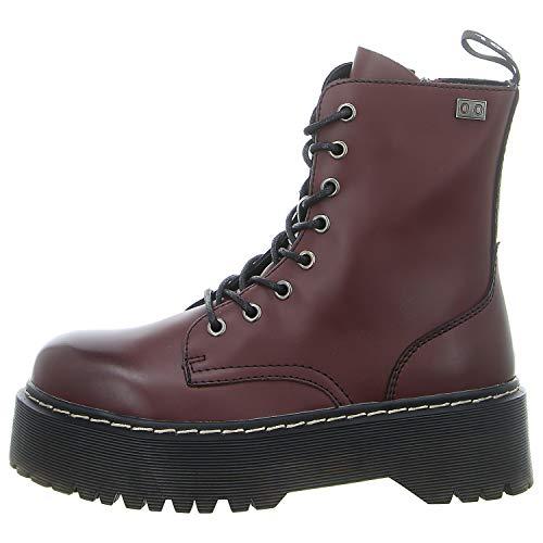 COOLWAY Damen Abby Combat Boots, Rot (Burg 510), 39 EU - 510-schuhe