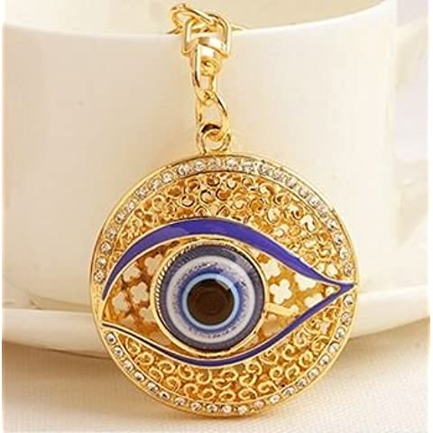 Hot Unique-Collana da donna, motivo Evil Eye-Portachiavi ad anello con ciondoli Fashion-Portachiavi in metallo, per (Evil Eye Anello)