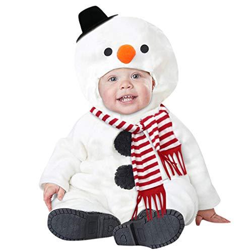SUMTTER Weihnachten Baby Strampler Xmas Schneemann Kostüm für Neugeborenes Jungen Mädchen Strampler + Schal Kleidung Set