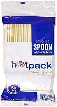 Hotpack Disposable Plastic Dessert Spoon, White - 50Pcs (6291101711375)