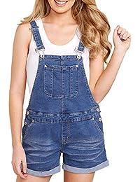 Damen Latzjeans Latzhose Capri Latzshorts Blau Jeans Shorts Denim Latz Kurz D47