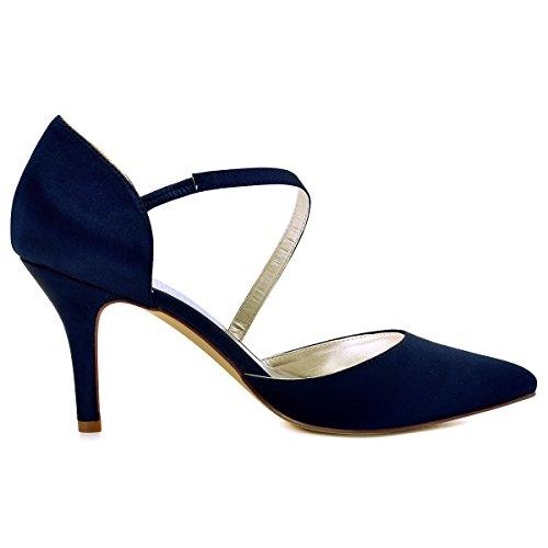 ElegantPark HC1711 donne Pointed Punta D`orsay alti tacco sera partito nozze Sposa scarpe Blu Marina