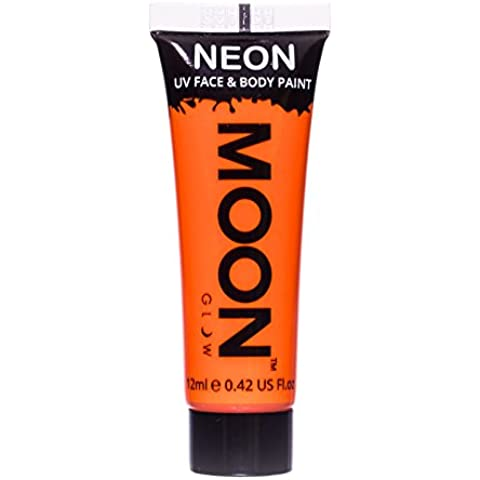 Gel cara y cuerpo naranja fluorescente UV Moonglow 12 ml - Única