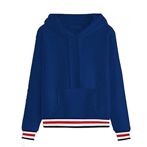 Bluestercool Sweat à Capuche Femmes Manche Longue Sweatshirt Rayé Tops (M, Bleu)
