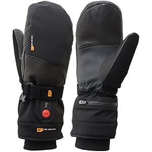 30seven beheizbare Ski-Handschuhe Fäustlinge mit Akku, beheizte Fausthandschuhe für Damen & Herren/beheizbarer Winterhandschuh zum Skifahren, Snowboarden, Wintersport/wasserdicht / schwarz