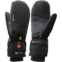 Guantes de esquí calefactables Manoplas con batería, muy cálido, manoplas/Hombre & Mujer/Esquí, Snowboard, Deportes de Invierno/impermeable/Negro, color negro, tamaño 9 (M)