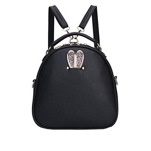 VALIN S834 Nouveau style PU Cuir Sacs portés épaule Sacs portés main,245×100×245(mm) Noir