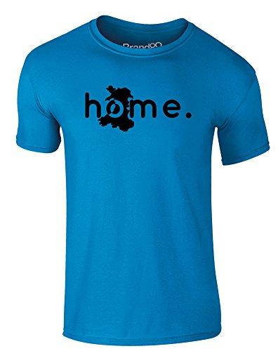 Brand88 - Home: Wales, Erwachsene Gedrucktes T-Shirt Azurblau/Schwarz