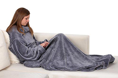 ZOLLNER® Batamanta / manta con mangas / manta para el sofá de coralina, 170x200 cm, color topo, disponible en otros colores, del especialista en textiles para hostelería y gastronomía, serie 'Relax'