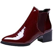 4a2ebc7cd5689 Bottines Vernis Noir Et Rouge Bottes éQuitation Cuir Ankle Boots Talon  Compensé Bottes Sexy Femme Comfort ...
