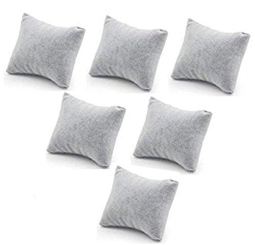 mollensiuer 6 Stück Samt Uhr Armreif Armband Kissen Schmuck Displays für Home Store Vitrine, Grau -