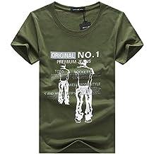 AiNaMei Camiseta de Manga Corta para Hombre, Moda, tamaño Grande, Media Manga Superior