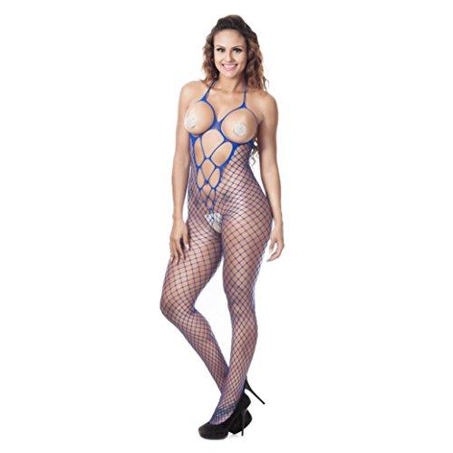 feiXIANG Mode Damen Bodysuit Frauen Ineinander greifenhohles Stück Wäsche Lace Strap Wrapped Brust Shirt Top neue Unterwäsche (Blau, Freie Größe) (Trim Lace Höschen Stretch-baumwolle)