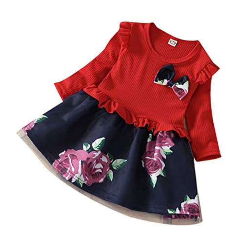 Innerternet Mädchen Kleidung Baumwolle Langarm T-Shirt Freizeit Kleid Herbst Kleid Floral Pattern...