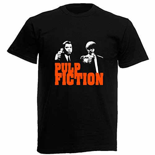 T-shirt Uomo Pulp Fiction Maglietta 100% cotone LaMAGLIERIA,L , Nero