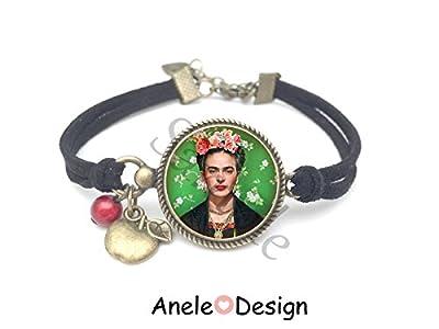 Bracelet Frida Kahlo et les fleurs artiste peintre cadeau