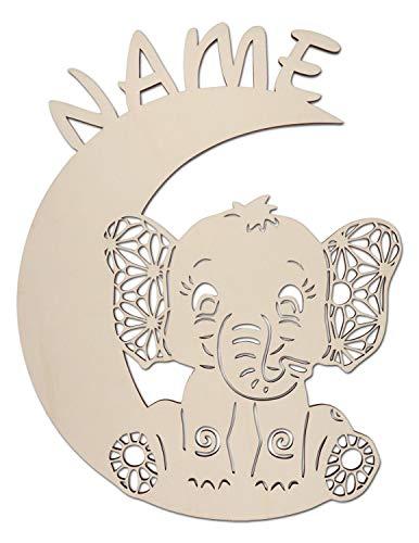 Bär auf Mond Baby Kinder besondere individuelle Geschenke zur Geburt und Taufe Taufgeschenke für Mädchen Junge (Elefant auf Mond)
