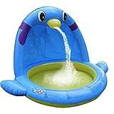 Ardentity Aufblasbarer Rectangular Pool, Pinguin Sprinkler Pad Kinder Aufstellpool, Planschbecken,...