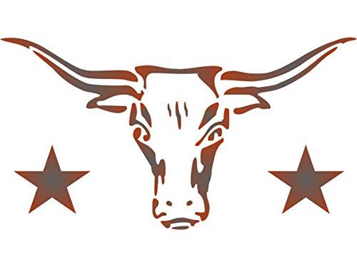 Longhorn Schablone-wiederverwendbar Kuh Stier Schädel Texas Farm Animal Rind Wand Schablone-Vorlage, auf Papier Projekte Scrapbook Tagebuch Wände Böden Stoff Möbel Glas Holz etc. Größe S -