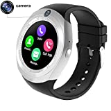 Meya Happy Apple iPhone 6 / 7 / 8 64 GB Compatible Wireless Bluetooth Smartwatch Works on Both Google Android / Apple iOS 3G,4G Sim Card Support and Push Notification For Apps like Facebook and WhatsApp Touch Screen, Read Message or News Pedometer Sleep Reminder Activity Tracker Watch By Meya Happy