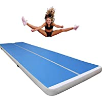 Phil Beauty Air Track para Gimnasia con Bomba de Aire Eléctrica Pista de Aire Inflable Tumbling Alfombrillas-Colchonetas para de Aterrizaje de Entrenamiento,Azul,500x100x10cm