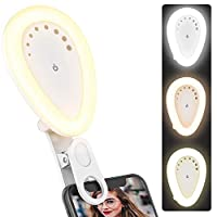 Selfie Ring Light, Clip-on Ring Light Rechargeable Portable Photography Light, Upgraded Selfie Fill Light with 54 LED Camera Light,3 Light Modes 8-Level Brightness 210° Rotating for iPhone and Android