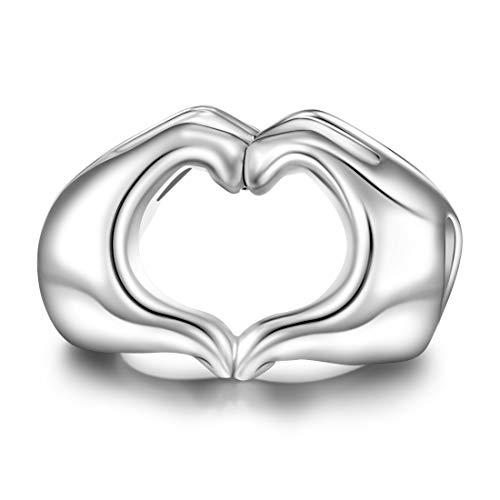 JIAYIQI Liebe Geste Damen Charm Bead Für Armband Halskette Liebesherz in deinen Händen Charms EINWEG