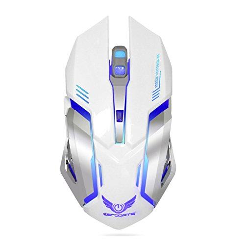 LCLrute Hohe Qualität Neue 2.4GHz Wireless Optical Gaming Mouse Mäuse & USB-Empfänger für PC Laptop (Weiß) (Maus Auflösung Hohe)