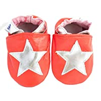 Soft Leather Baby Shoes red with Silver Stars (6-12 Months)