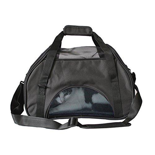 Ondoing Hundetasche Reisetasche Transporttasche Tragetasche mit Reißverschluss klappbar für Katzen&Hunde Schwarz/Grau 43*21*31 cm