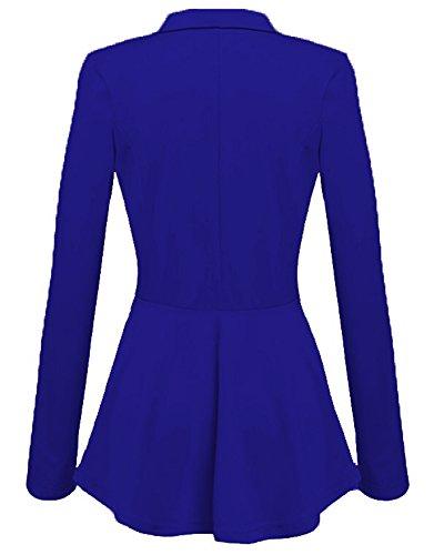 Donne Slim Fit Elegante Ufficio Business Giacca Tuta Blazer Top Camicetta Outwear Maglietta Mare Blu