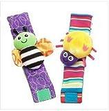 #4: Kuhu Creations® Cute & Stylish Soft Baby Rattles. (2 Units, Style W: Colorful 2 Wrist Rattle)