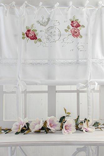 Rose Garden weiss 100x120cm farbiger Rosendruck Raffgardine mit Spitzenborte in Blumenmuster Shabby Chic Vintage Landhaus Franske