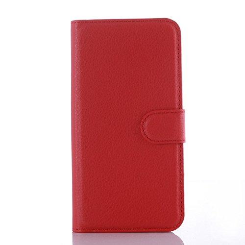 Custodia Cover per Samsung Galaxy Core 2 / Core 2 Duos (G355H, 4.5 pollici) - Ycloud Portafoglio Tasca Book Folding Custodia In Pelle Con Supporto di Stand Cover Case Custodia Pelle Con Stilo Penna Rosso