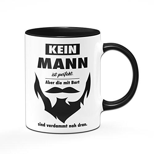 Tassenbrennerei Tasse Kein Mann ist perfekt. Aber die mit Bart sind verdammt nah dran - Geschenk für Männer, Freund mit Bart. - Schwarz