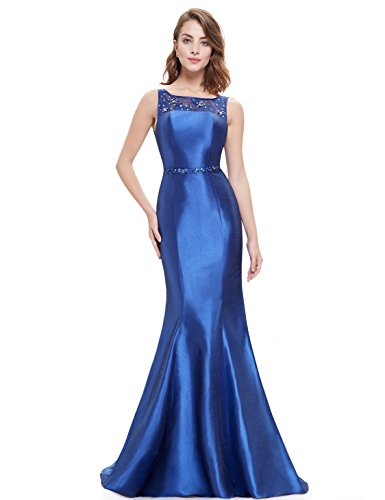 Ever Pretty Robe de cocktail Longue Fishtail Moulante et en col rond 08511 Bleu Saphir