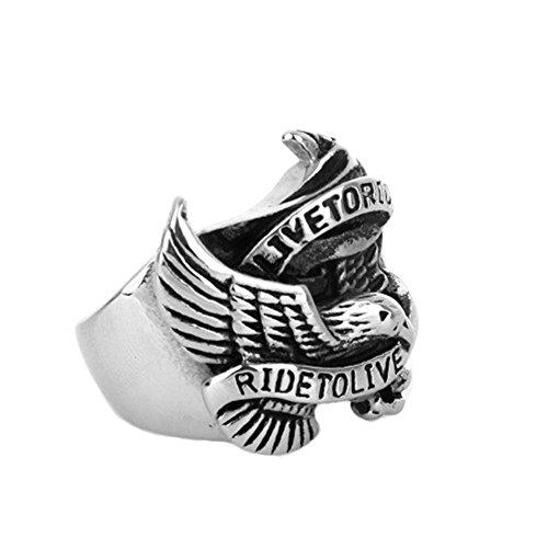 Quoouz Rostfreier Stahl Herren Punk Retro Adler Ringe,Farbe Weiß,Größe 70 (22.3)