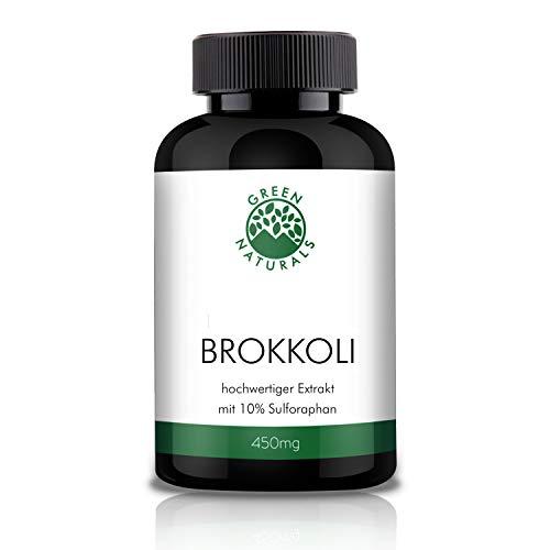 GREEN NATURALS Premium Brokkoli Extrakt - 120 hochdosierte Kapseln á 450mg aus deutscher Herstellung - 10% Sulforaphan 45mg - 100% Vegan & Ohne Zusätze