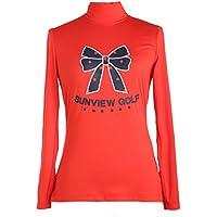 SVG de la mujer Mock Neck manga larga rojo camisa de Golf señoras Athletic Casual para Mujer