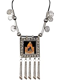 Sansar India Oxidized Silver Plated Padmavati Collection Picture Coins Tassel Necklace For Girls And Women
