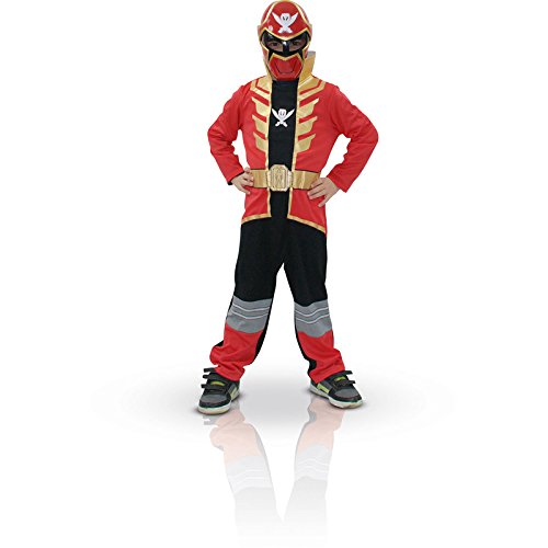 Rubie's 3880372 - Red Power Ranger Super Megaforce Classic - Child, Verkleiden und Kostüme, M (Megaforce Rotes Power Ranger Kostüm)
