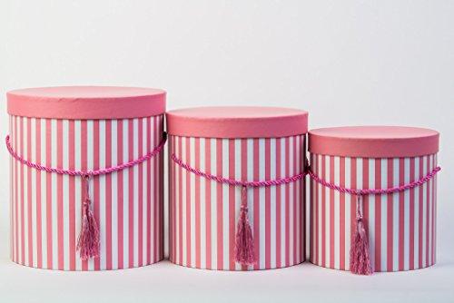 3er Set runde Aufbewahrungsboxen mit Deckel, gestreift in Rosa, mit Kordel und Quaste, Hutschachtel, Dekobox mit Streifen, runde Blumenbox in Rosarot -