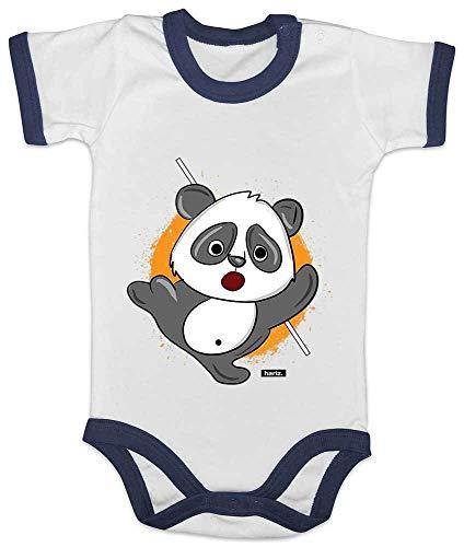 Stolz Ringer (HARIZ Baby Body Ringer Süßer Panda Samurai Tiere Zoo Plus Geschenkkarte Weiß/Navy Blau 12-18 Monate)