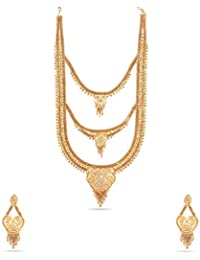 Kalyani Covering 21K Gold Plated 3 Step Long Necklace Set For Women And Girls