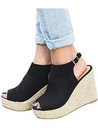 Minetom Sandali Donna Moda Sandali Espadrillas con Cinturino alla Caviglia Zeppe  Donna Corda Intrecciato Piattaforma Eleganti Estivi… b5877ba49a3