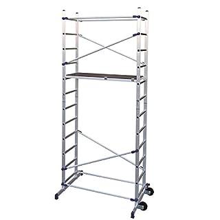 Facal 5985836 Clic, Alu Heimwerkergerüst, Fahrgerüst mit Treppenverstellung, 4,36 m Arbeitshöhe